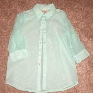 Girls sheer button down shirt